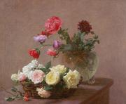 Table Paintings - Poppies in a Crystal Vase - or Basket of Roses by Ignace Henri Jean Fantin-Latour