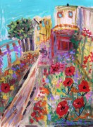 Alcatraz Drawings Prints - Poppies in Alcatraz Garden Print by Mary Carol Williams