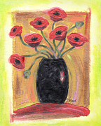 Gold Lime Green Art - Poppies in Black by Renee Womack