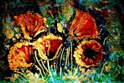 Most Viewed Framed Prints - Poppies in gold Framed Print by Zaira Dzhaubaeva