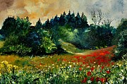 Poppies Field Painting Originals - Poppies in Houroy by Pol Ledent
