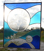 Panel Glass Art - Poppies in the Clouds by Arlene  Wright-Correll
