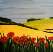 Blu Framed Prints - Poppies in the Hills Framed Print by Ed Akers