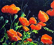 Moonlight Paintings - Poppies in the light by Richard T Pranke