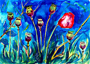 Poppy Drawings Prints - Poppies Print by Ion vincent DAnu