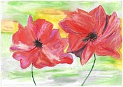 Red Poppies Drawings - Poppies by Jelena Ozola