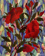 Stained Glass Tapestries - Textiles - Poppies by Marina Gershman