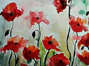 Gruenwald Mixed Media Framed Prints - Poppies Meadow - abstract Framed Print by Ismeta Gruenwald