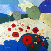 Mjonesart Prints - Poppies Print by Micheal Jones
