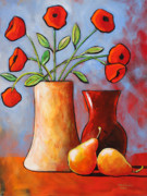Poppies Art Paintings - Poppies N Pears by Toni Grote
