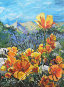 Lupines Paintings - Poppies by Nadi Spencer