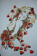 Poppies Drawings Posters - Poppies Poster by Natalia Basarab