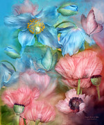 Print Of Poppy Metal Prints - Poppies Peach and Blue Metal Print by Carol Cavalaris