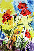 Provence Mixed Media Posters - Poppies Provence Summer Floral Poster by Ginette Callaway