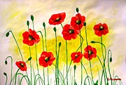 Sun Rays Painting Prints - Poppies Print by Sonya Ragyovska