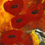 Meadowlark Paintings - Poppies with Meadowlark by Kelly Riccetti