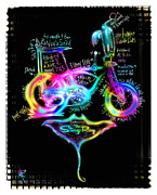 Bicycle Mixed Media Posters - Poppin a Wheelie Poster by Russell Pierce