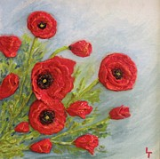 Bright Colors Reliefs Metal Prints - Poppin Poppies Metal Print by Lorrie T Dunks