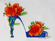 Blue Flowers Drawings - Poppy Bella by Karon Melillo DeVega