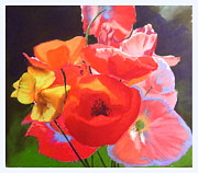 Red Poppies Pastels - Poppy Bouquet by Sue Gardner