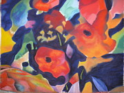 Flower Blooms Pastels Prints - Poppy Bouquet Print by Terri Thompson