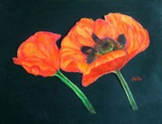 Anke Wheeler Paintings - Poppy Bud and Bloom by Anke Wheeler