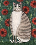 Folk Print Digital Art Posters - Poppy Cat Poster by Wendy Presseisen
