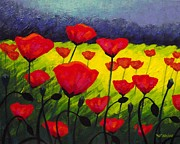 Texture Floral Painting Prints - Poppy Corner III Print by John  Nolan