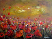 Poppies Field Paintings - Poppy Field by Alina Vidulescu