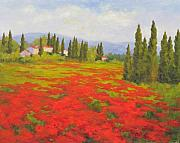 Poppies Field Paintings - Poppy Field by Barrett Edwards