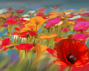Still Life Photographs Mixed Media Prints - Poppy Field Print by Batya Sagy