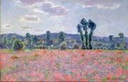 Coquelicot Framed Prints - Poppy Field Framed Print by Claude Monet