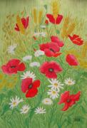 Poppies Field Paintings - Poppy field by Dan Anning