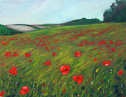 Cloudy Day Paintings - Poppy field by Hilary England