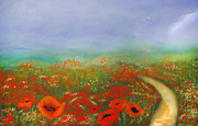 Orange Poppy Art Posters - Poppy Field Impressions Poster by Zeana Romanovna