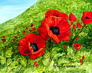 Poppies Field Painting Originals - Poppy Field by Tanja Ware