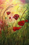 Flower Field Paintings - Poppy Fields by Mary Roberts