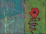 Color Green Mixed Media Posters - Poppy Poster by Joseph Ferguson