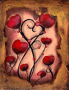 Abstract Hearts Paintings - Poppy Love by  Abril Andrade Griffith