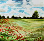 Poppies Field Paintings - Poppy Meadow by Elizabeth Robinette Tyndall