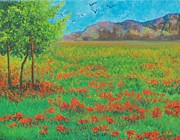 Lore Rossi Metal Prints - Poppy Meadow Metal Print by Lore Rossi