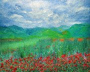 Countryside Mixed Media Prints - Poppy Meadows Print by Zeana Romanovna