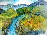 Alcohol Ink Prints - Poppy Mountains Print by P Maure Bausch