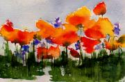 Orange Poppy Paintings - Poppy Parade by Anne Duke