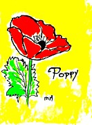Word Paintings - Poppy Red ll by Marsha Heiken