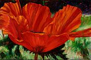 Billie Colson Paintings - Poppy side view by Billie Colson