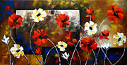 Landscape Greeting Cards Painting Framed Prints - Poppy Spectrum Framed Print by Uma Devi