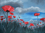 Plant Greeting Cards Painting Prints - Poppy Storm Print by Jamie Hartley