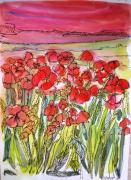 Poppies Field Paintings - Poppy Sunset by Jill PRICE