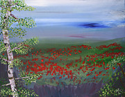 Garden Scene Paintings - Poppy Valley by Jamie Hartley